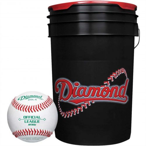 Diamond 6-Gallon Ball Bucket with 30 DOL-A Baseballs, Black