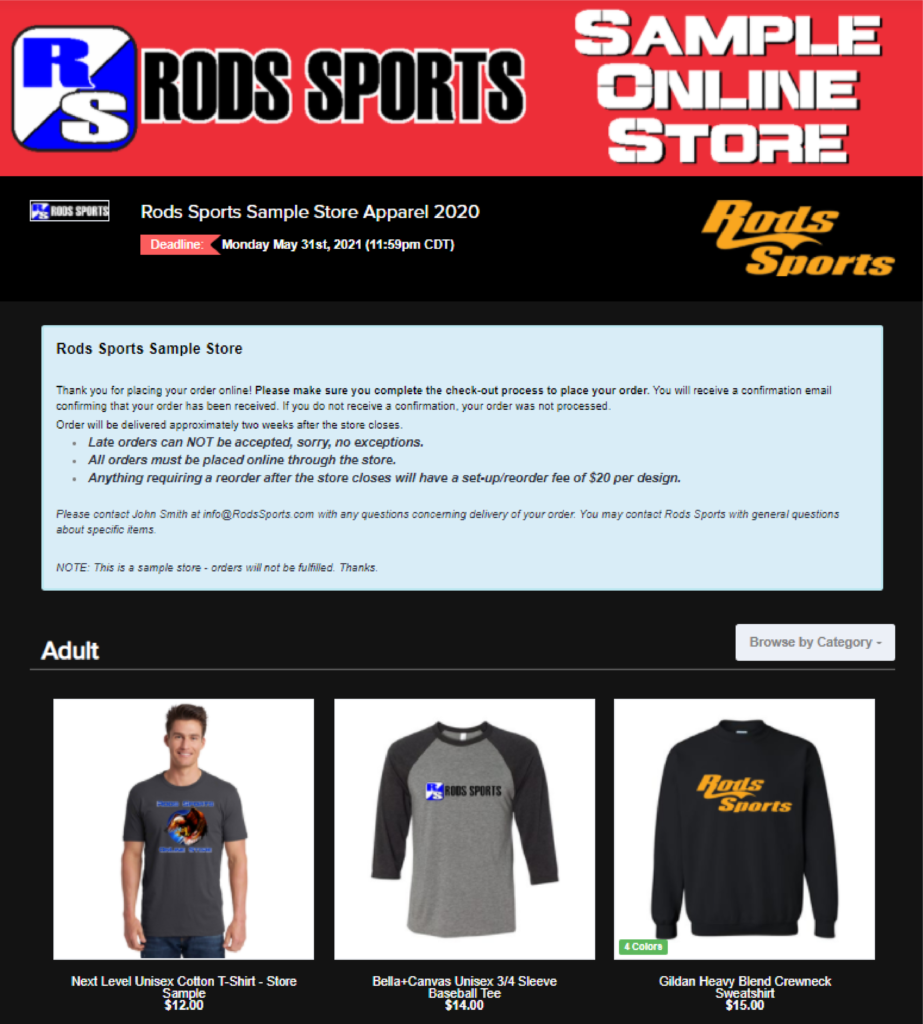 Rods Sports Custom Online Store